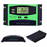 20A Solar Charge Controller 12V/24V Solar Panel Battery Intelligent Regulator Solar Panel with PWM Dual USB Port LCD Display (20A)