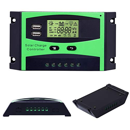 20A Solar Charge Controller 12V/24V Solar Panel Battery Intelligent Regulator Solar Panel with PWM Dual USB Port LCD Display (20A) by Binen