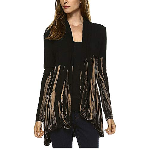 - Sunhusing Women Gradient Color Tie-Dyed Printed Splicing Long Sleeve Cardigan Irregular Swallowtail Hem Top Khaki