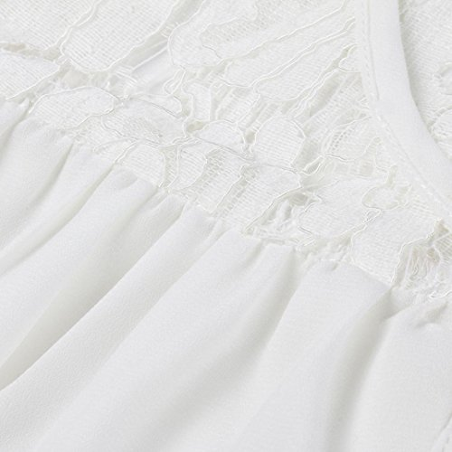 Chic Dentelle Chemisier V en LaChe Blouse Quarts T Bouton Femmes Dentelle Blanc Trois Mode Cou VJGOAL Hauts Shirts qRZfgwxx