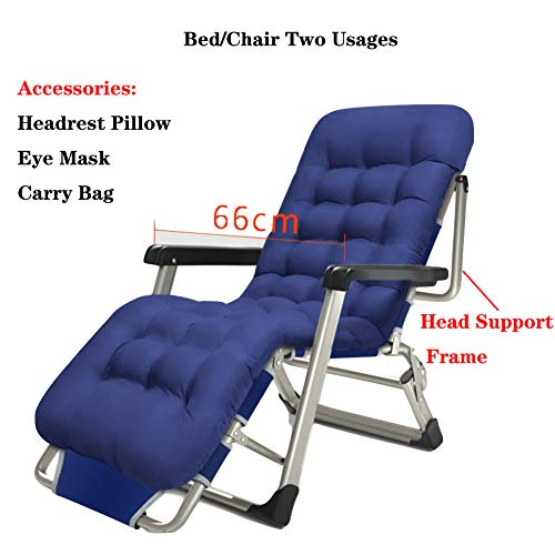 XIAOMEI Folding Recliner Chair,with Foot Rest Cool Padded Adjustable Reclining Chaise Lounge Sturdy Bed Chair Two Usages Support 500lbs-g (Blue Lounge Cool Feet)