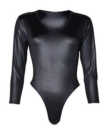 Nero The Of large Maniche Effetto Body Lunghe Xx Donna Bagnato Fashion Pvc Home Da In A Black 8S8fgnwFr