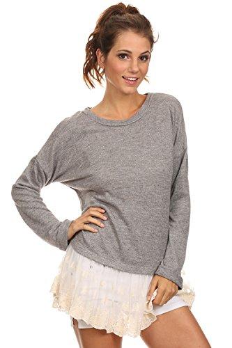 Beth - Grey Oversized Sweater W/ Lace Boho Crocheted Trim...