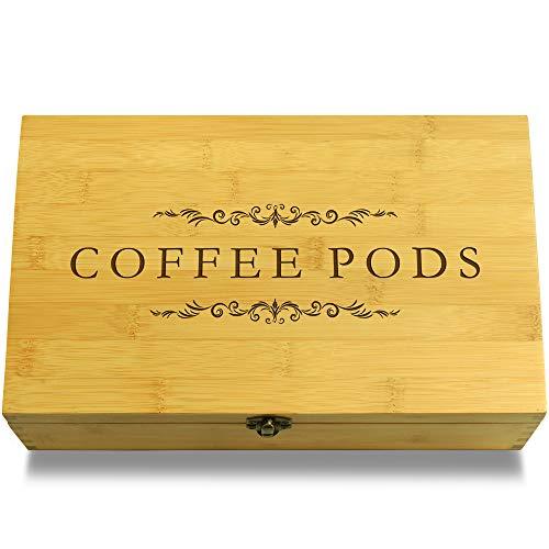 Cookbook People Coffee Pods Decorative Bamboo Wood Multikeep Box -Adjustable Organizer by Cookbook People