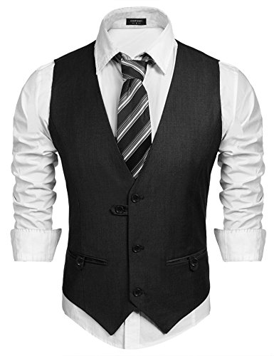 Coofandy V-Neck Sleeveless Slim Fit Business Jacket Suit Vest Waistcoat for - Sleeveless For Men Suits