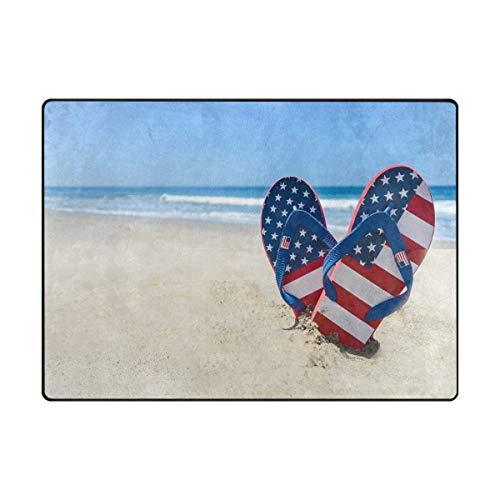 Indoor Home Area Rugs 4'x6', Throw Rug Rectangle Carpet Non Slip Floor Mats, Flip Flops with American Flag on The Sandy Beach