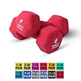 Day 1 Fitness Neoprene Dumbbell Pairs 20 Pounds - Non-Slip, Hexagon Shape, Color Coded, Easy to Read Hand Weights for Muscle Toning, Strength Building, Weight Loss