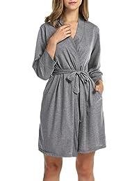 Women Soft Cotton Bathrobe Lightweight Lounge Robe M-XL