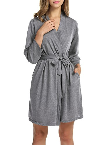- Hotouch Women's Kimono Robes Cotton Lightweight Bath Robe Knit Bathrobe Soft Sleepwear V-Neck Ladies Nightwear Heather Gray M
