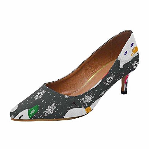 InterestPrint Womens Low Kitten Heel Pointed Toe Dress Pump Shoes Pattern With Cute Snowmen and Snowflakes Multi 1 0Az8kK8U6