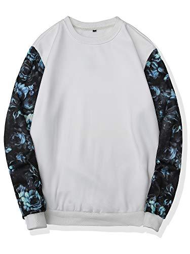 Sweatshirt Jersey Print - DAIKEN Men's Floral Long Sleeve Casual Jersey Sweatshirt Fitted Lightweight Crew Neck Sweater Sweatshirts for Men