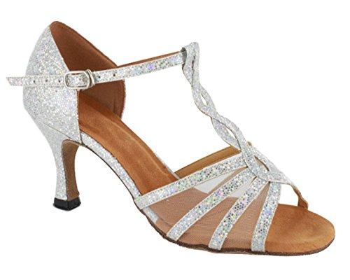 Tda Donna Moda T-strap Glitter Sintetico Salsa Tango Sala Da Ballo Latino Moderno Scarpe Da Sposa Danza Argento