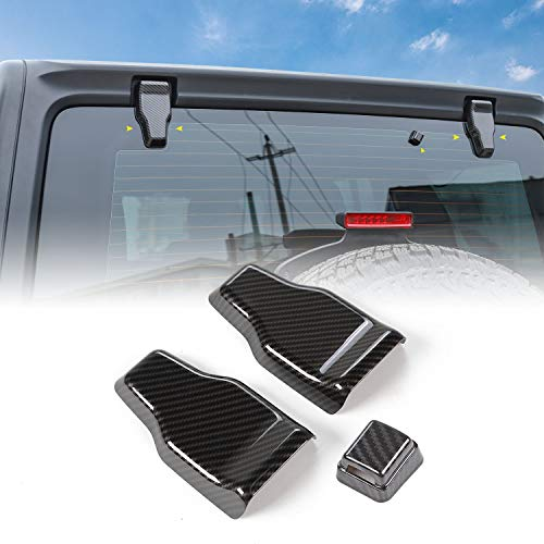 Tailgate Glass Hinge Cover & Rear Window Windshield Wiper Spray Nozzle Trim Cover for Jeep Wrangler JL 2018+ (Carbon Fiber)