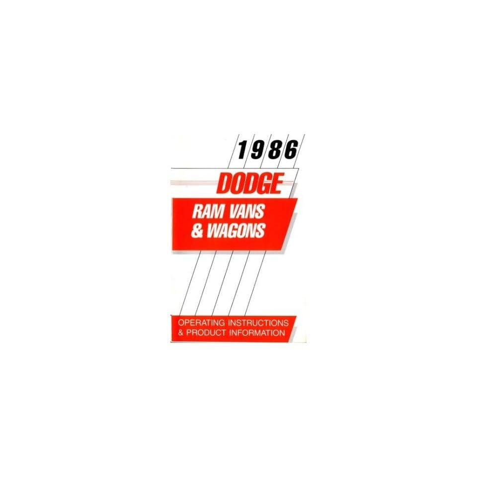 1986 DODGE RAM VAN & WAGON Owners Manual User Guide Automotive
