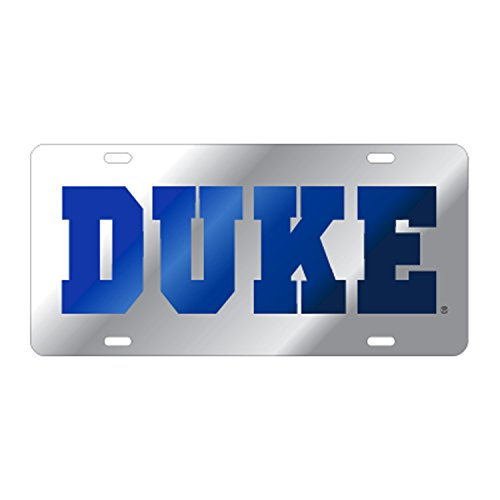 Duke Blue Devils Silver/Blue Laser Cut Car Tag (Blue Laser License Plate)