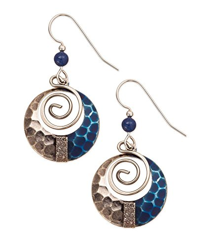 Silver Forest Navy and Antique Silvertone Circle Dangle Earrings - Forest Jewelry