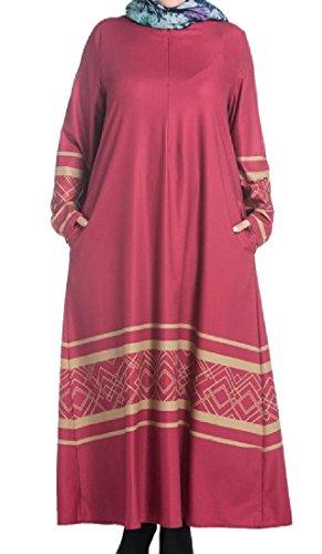 Donne Musulmano Oriente Del Floreale Sovradimensionato Medio Stampato Rossa Comodi Veste Chiffon rREqwxrS