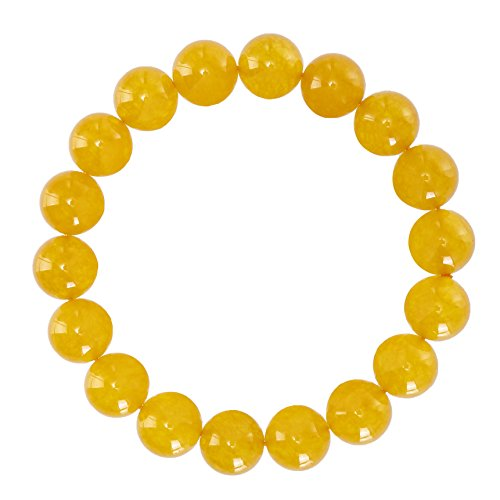 Gemstone Yellow Bracelet (BRCbeads Gemstone Bracelets Natural Yellow Jade Genuine Gemstones Birthstone Handmade Healing Power Crystal Beads Elastic Stretch 12mm 8.5 Inch with Gift Box Unisex)