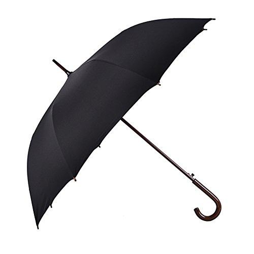 Vintage Handled - Umbrellas Gentleman Black Business Outdoor Wind Resistance Long-handled Large Stick Solid Wood Straight Vintage Travel For men/women