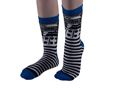 Doctor Who-Cushion Slipper Socks-One Size Fits Most-Dalek Stripe