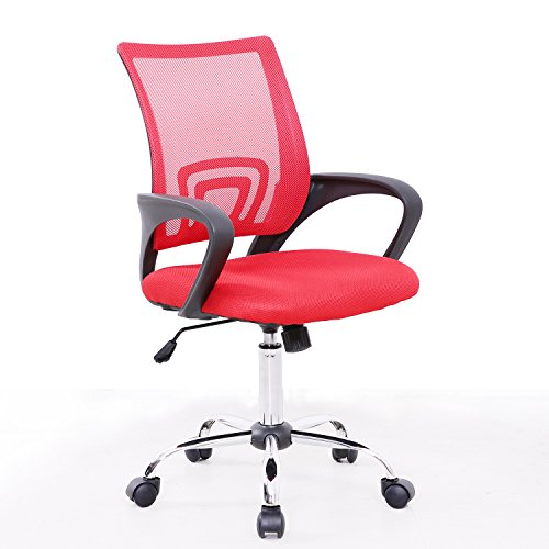 Bürostuhl Netzbezug Drehstuhl Schreibtischstuhl Stuhl Schreibtisch Schwarz (Rot)