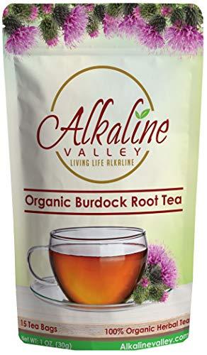 Food Alkaline (Burdock Root Tea Organic - 100% Alkaline - 15 Unbleached/Chemical-Free Burdock Root Tea Bags - Caffeine-Free, No GMO)