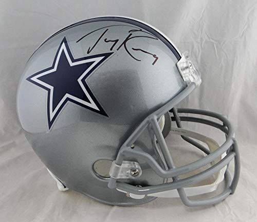 (Tony Romo Autographed Dallas Cowboys Full Size Helmet- Beckett Auth Black)