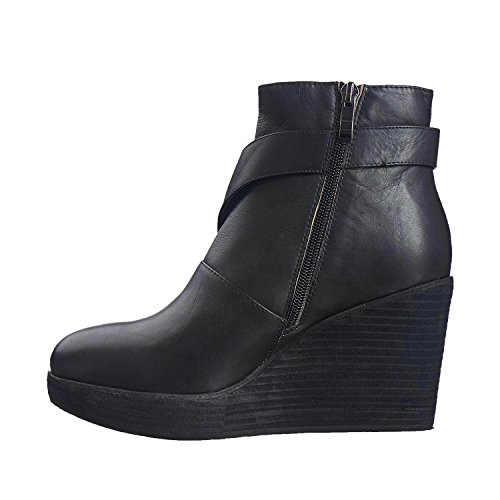 Antilopen Dames 768 Leer Cut & Cris Cross Bootie Zwart