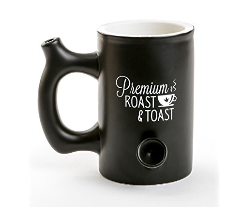 Filter Back Dual Smokers (Mozlly Fashioncraft Black Premium Roast and Toast 10oz Ceramic Dual Coffee Mug and Pipe - Microwave and Dishwasher Safe - 5.25 x 6 x 4.25 inch - Novelty Drinkware)