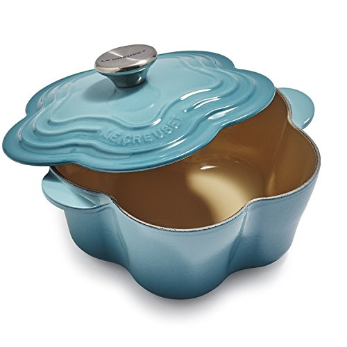 (Le Creuset L2104-0217S Enameled Cast Iron Flower Cocotte With Stainless Steel Knob, 2.25 quart, Caribbean)