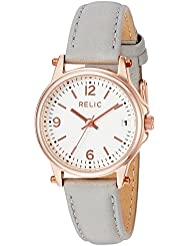 Relic Womens Matilda Quartz Stainless Steel and Leather Casual Watch, Color:Grey (Model: ZR34383)