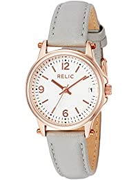 Women's 'Matilda' Quartz Stainless Steel and Leather Casual Watch, Color:Grey (Model: ZR34383)