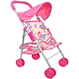 My First Doll Stroller - Foldable Doll Stroller with Hood and Basket