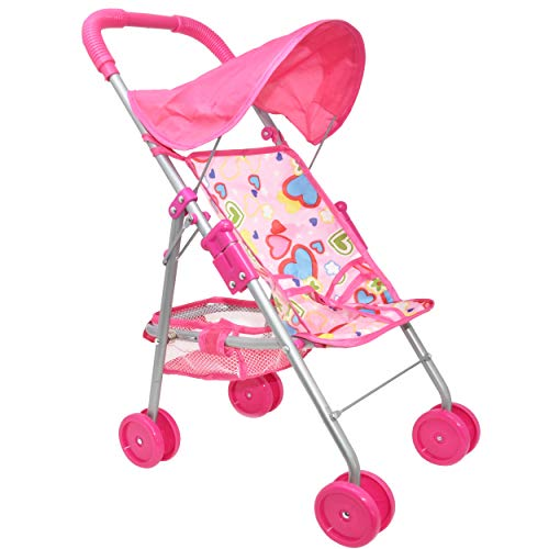 My First Doll Stroller - Foldable Doll Stroller with Hood and Basket (Dolls Pram White Wicker)