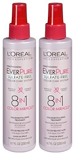 LOreal Paris Hair Expertise EverPure 8-in-1 Color Miracle Treatment Leave-in Spray, 6.7 Fl Oz (Pack of 2)