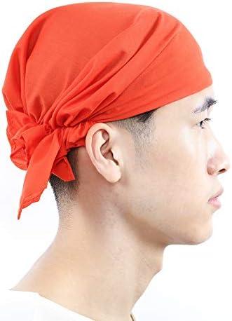 バンダナキャップ 三角巾 帽子 料理用 大人用 男女兼用 カフェ 業務用 料理教室 調理実習 医療用帽子 就寝用 外出用 1~2枚セット (オレンジ(無地)1枚)