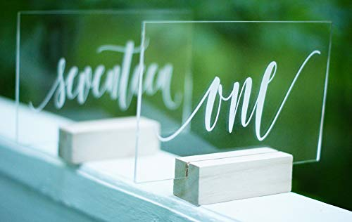 Set of 20 Acrylic Calligraphy Table Numbers | Wedding Event Shower Reception Restaurant | Glass like Clear Modern Formal Elegant Vintage Rustic | Sign Placard Card | Lettering Script Handwriting Print