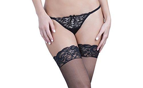 Oh la la Cheri Women's Peek-A-Boo Tanga Panty, Black, Medium