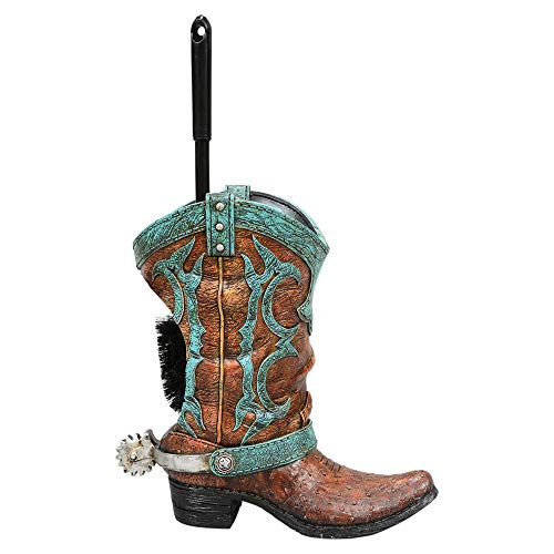 (BLACK FOREST DECOR Turquoise Boot Toilet Brush Holder)
