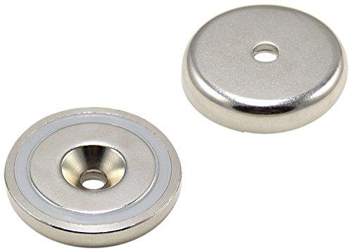 Magnet Expert® F4MA40-1 40mm de diamètre x 8mm d'épaisseur x 6mm de Profondeur-Aimant néodyme n42 Pot lavabo-64 kg d'attraction (Paquet de 1), Argent Magnet Expert®