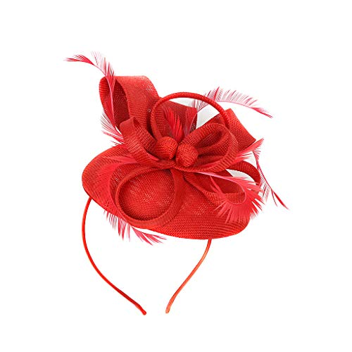 - Pengy Women Fascinator Band Rope Camellia Flower Ponytail Holder Scrunchie Hairband Accessory Handmade Red