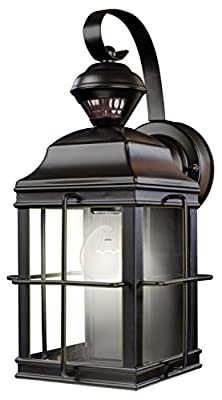 Heath Zenith HZ-4144-BK 150 Degree Motion Sensing Decoractive Security Light with DualBrite Technology, Black