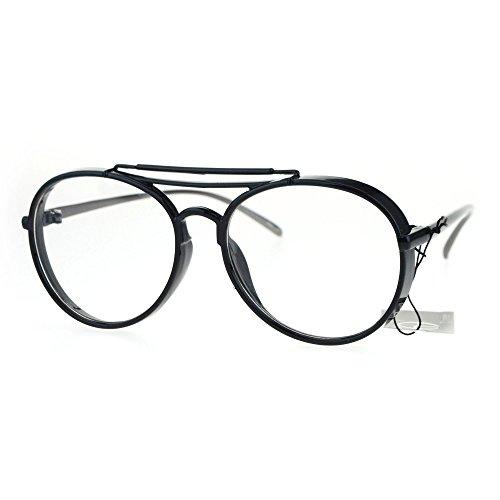 0105c85ea9 Plastic Retro Vintage Funky Disco Pilot Clear Lens Glasses Black