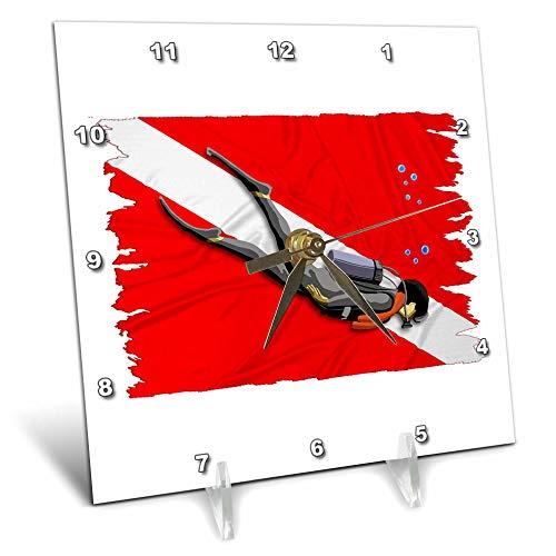 3dRose Macdonald Creative Studios – Scuba - Scuba Diver in Front of a red and White Dive Flag. - 6x6 Desk Clock (dc_299291_1) -