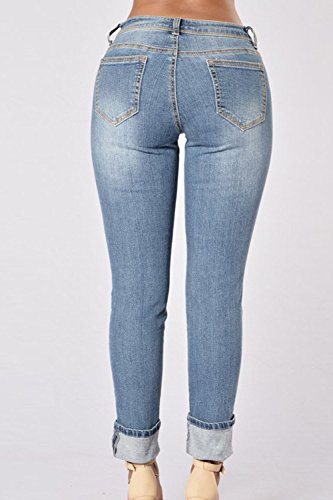 Women 's Summer Ripped Jeans Casual Lápiz Pantalones Blue