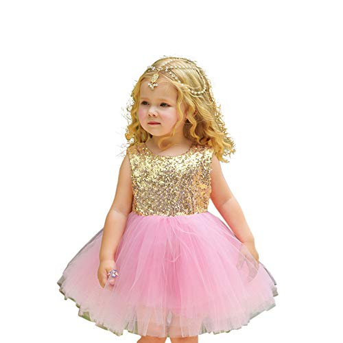 (MeterMall Girls Delicate Elegant Sequin Princess Dress Tutu Bubble Skirt Performance Costume D43 Pink 100cm)