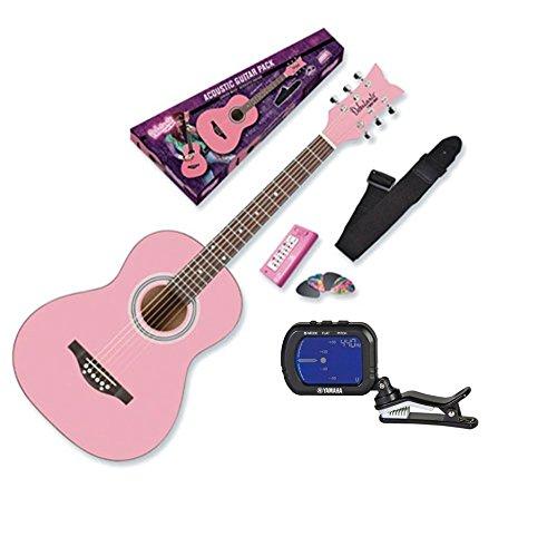 Daisy Rock Debutante Junior Miss Acoustic Bubble Gum Pink Guitar Starter Pack + Fender Clip-On Chromatic ()