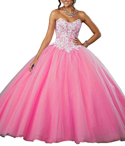 EileenDor Women's Embroidery and Beading Quinceanera Dress Tulle Lace Appliques Ball Gown Corset Long 15 Prom Dresses Hotpink