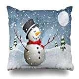Decor.Gifts Throw Pillow Covers Full Winter Snowman Moon Night Snow Christmas Xmas Flakes