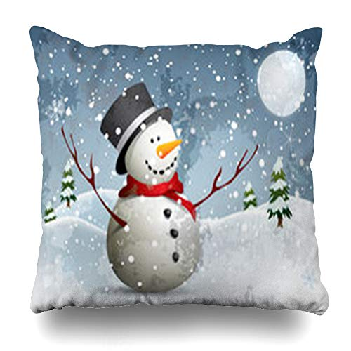 (Decor.Gifts Throw Pillow Covers Full Winter Snowman Moon Night Snow Christmas Xmas Flakes Tree Town Design Eve Cushion Case Square Size 18 x 18 Inches Home Decor Pillowcase)